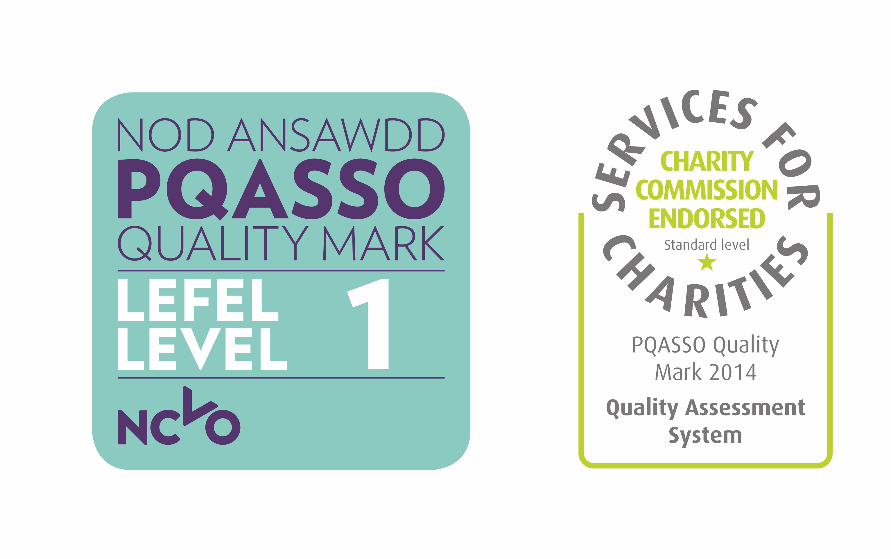 PQASSO Quality Mark Level 1 and Charity Commission Endorsement QAS Badge combined