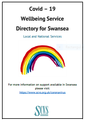 Image of front page of Covid 19 Wellbeing directory, local and national services. Image of a rainbow in the centre.